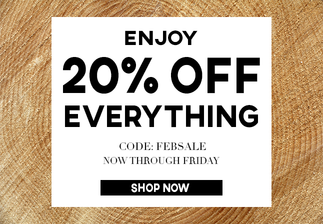 FEB 21 20% OFF EVERYTHING