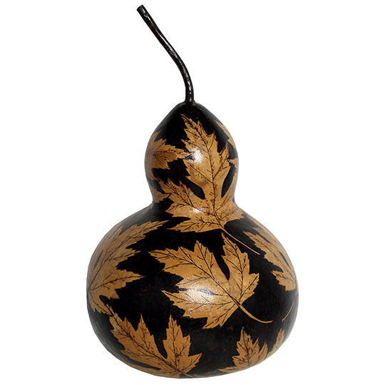 Leaves-on-a-Gourd-Wood-Burning-Project