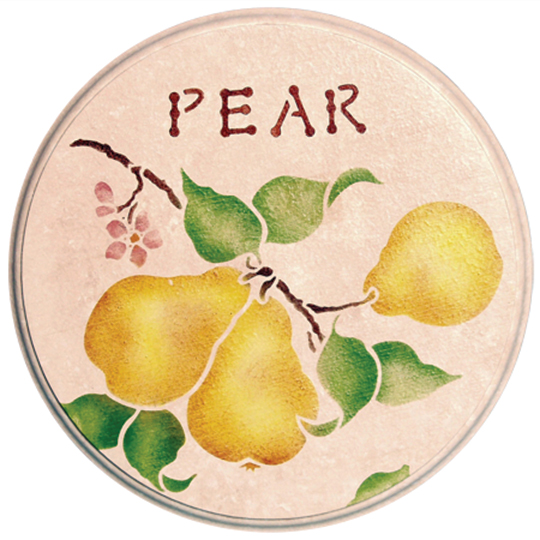 Stencil-Project-Pear-Design-Round-Plaque