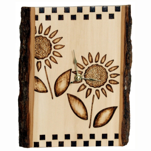 Sunflower-Design-Clock-Wood-Burning-Project
